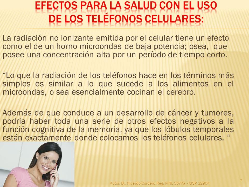 Efectos para la salud CON EL USO de los TELÉFONOS CELULARES: