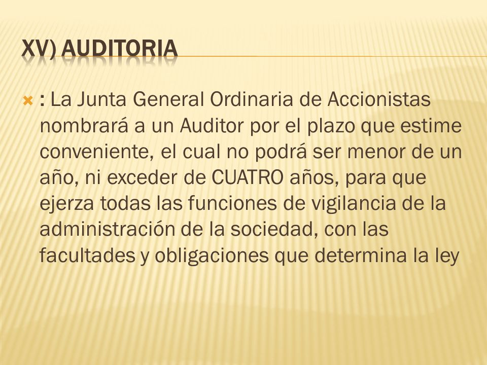 XV) AUDITORIA