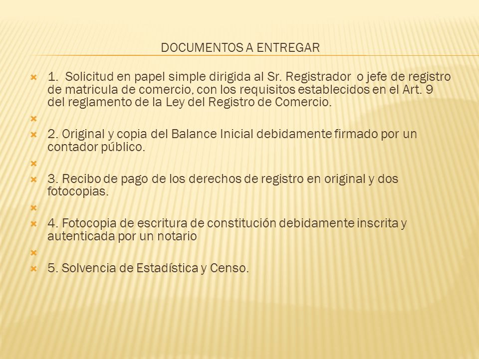 DOCUMENTOS A ENTREGAR