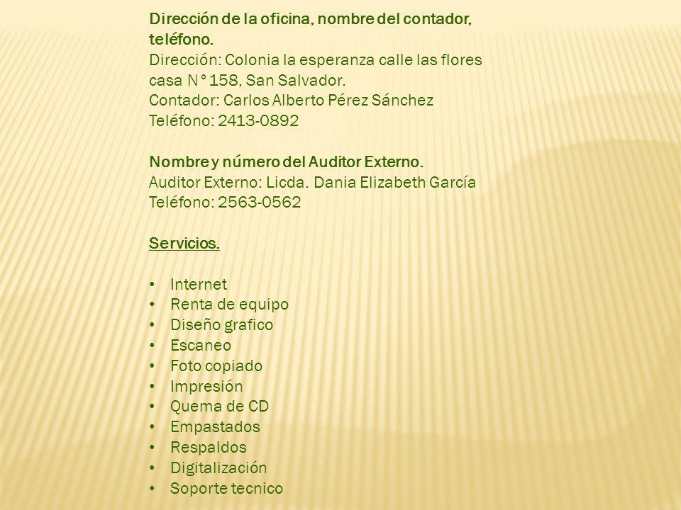 Dirección de la oficina, nombre del contador, teléfono.