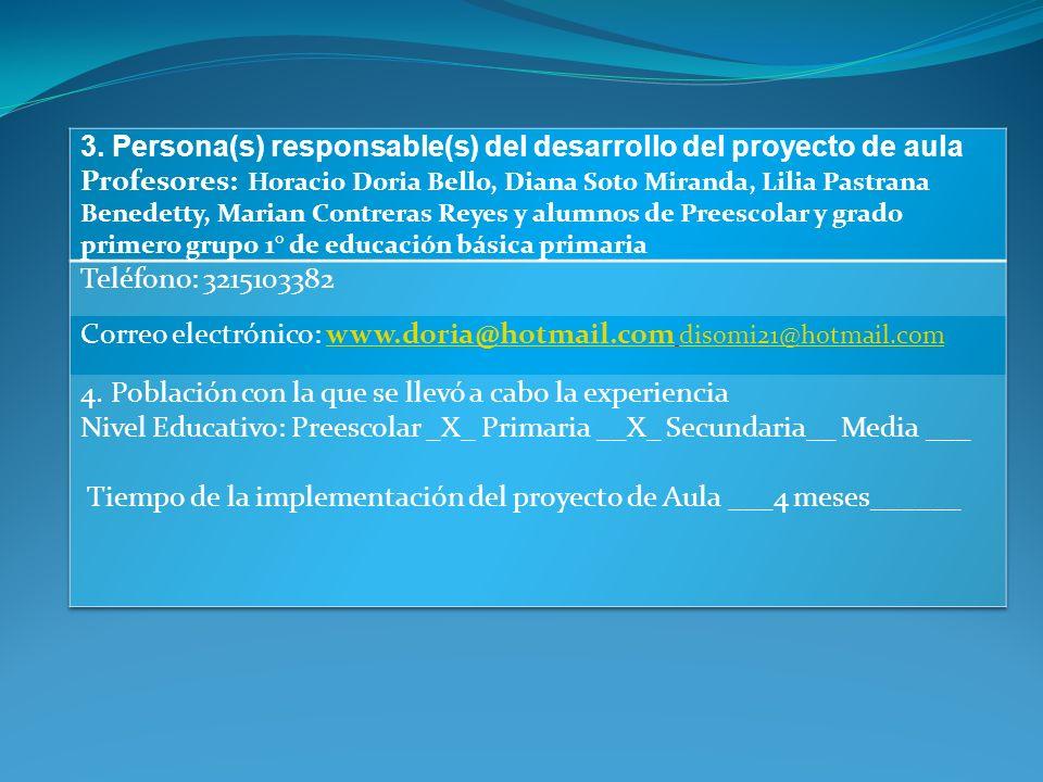 3. Persona(s) responsable(s) del desarrollo del proyecto de aula
