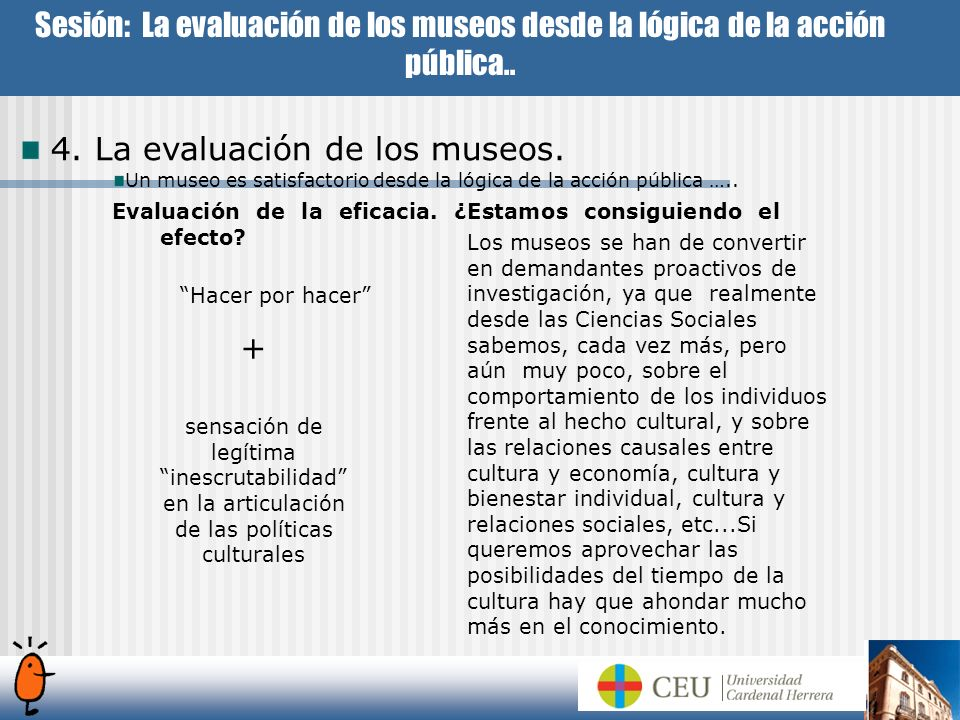 4. La evaluación de los museos.