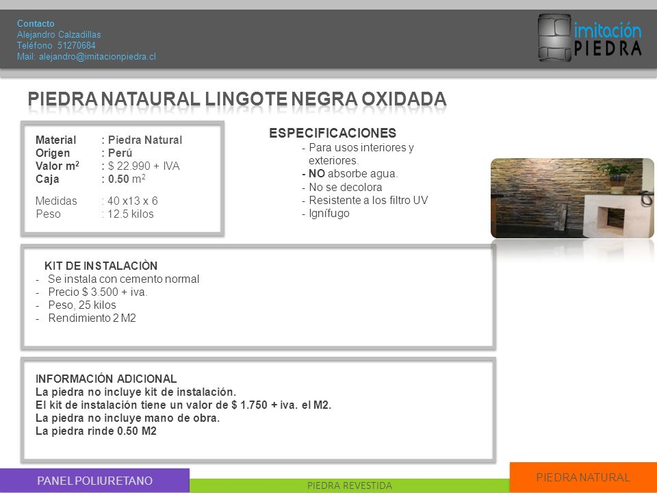 PIEDRA NATAURAL LINGOTE NEGRA OXIDADA