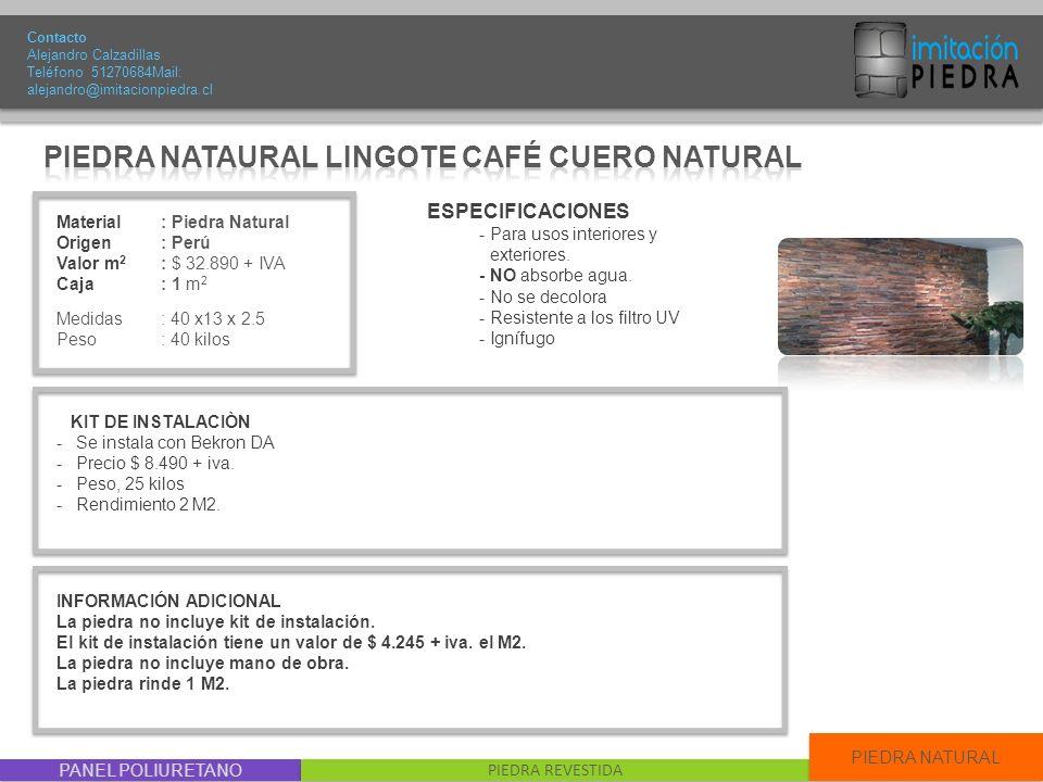 PIEDRA NATAURAL LINGOTE CAFÉ CUERO NATURAL