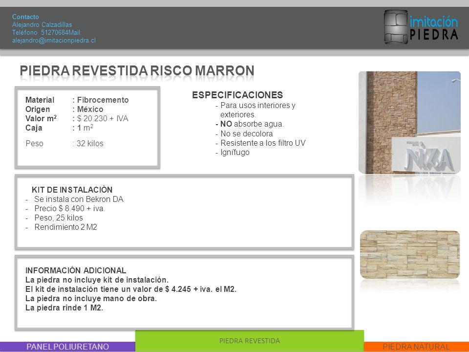 PIEDRA REVESTIDA RISCO MARRON