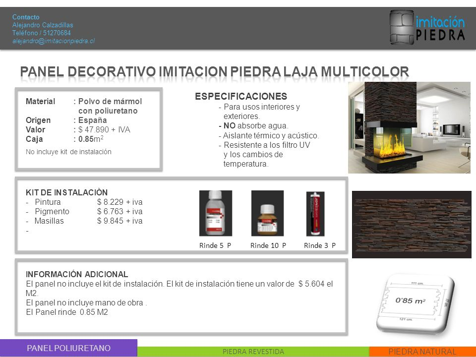 PANEL DECORATIVO IMITACION PIEDRA LAJA MULTICOLOR