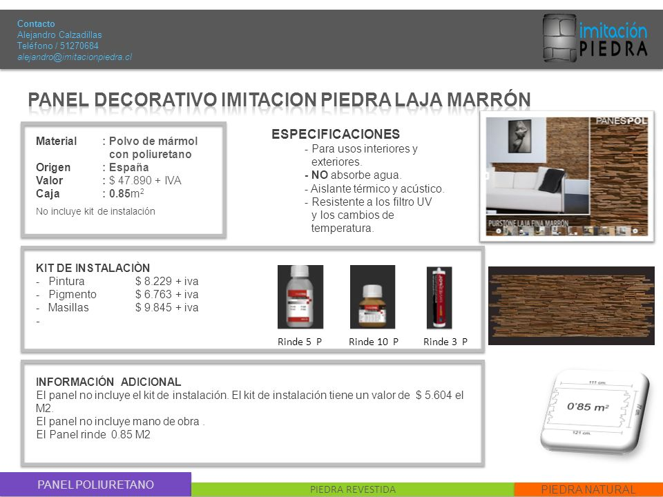 PANEL DECORATIVO IMITACION PIEDRA LAJA MARRÓN