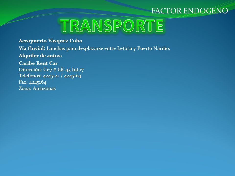 TRANSPORTE FACTOR ENDOGENO Aeropuerto Vásquez Cobo