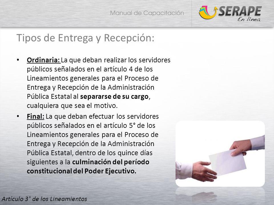 Tipos de Entrega y Recepción: