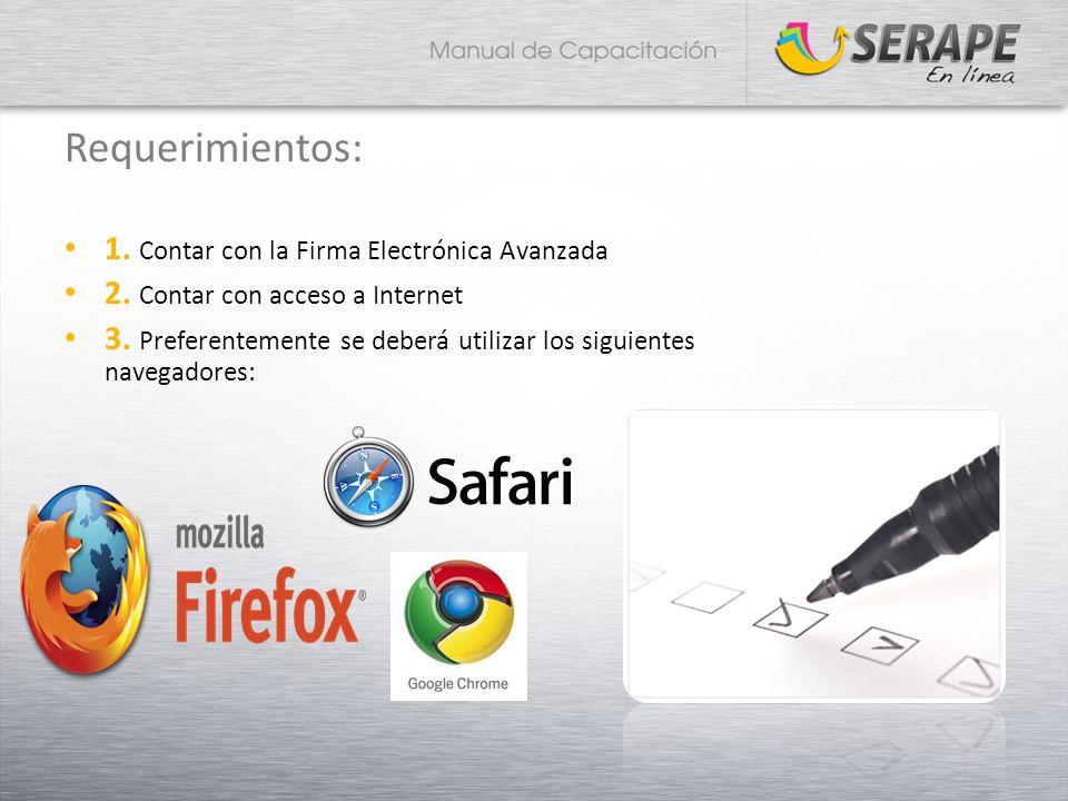 Requerimientos: 1. Contar con la Firma Electrónica Avanzada