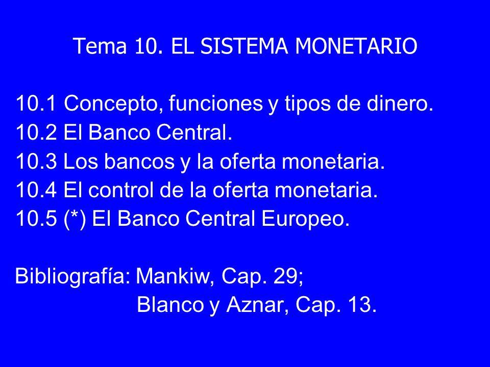 Tema 10. EL SISTEMA MONETARIO