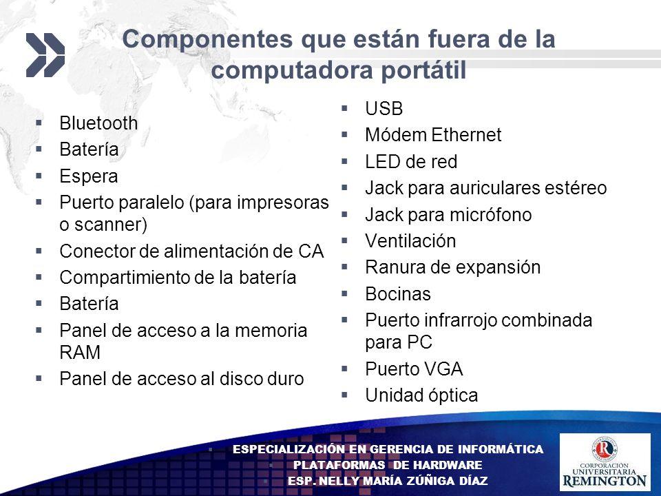Componentes que están fuera de la computadora portátil