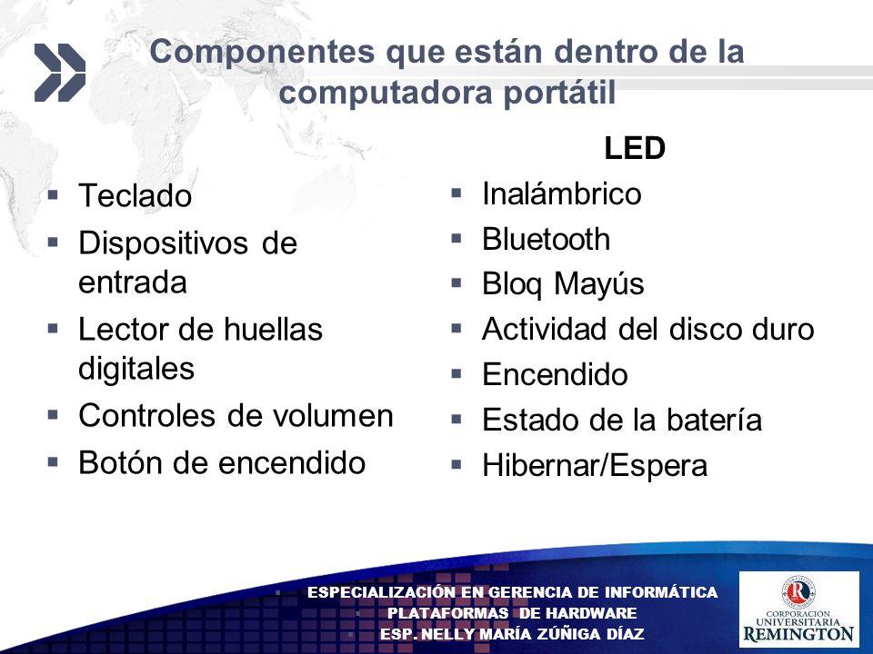 Componentes que están dentro de la computadora portátil