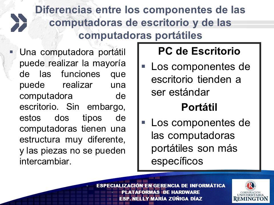 Los componentes de escritorio tienden a ser estándar