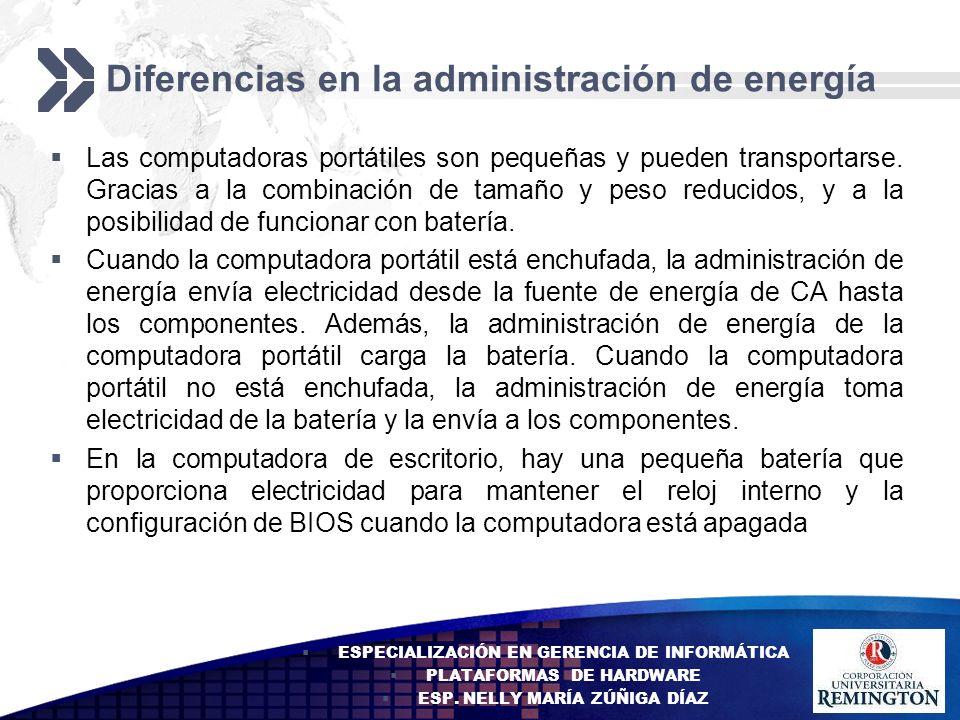 Diferencias en la administración de energía