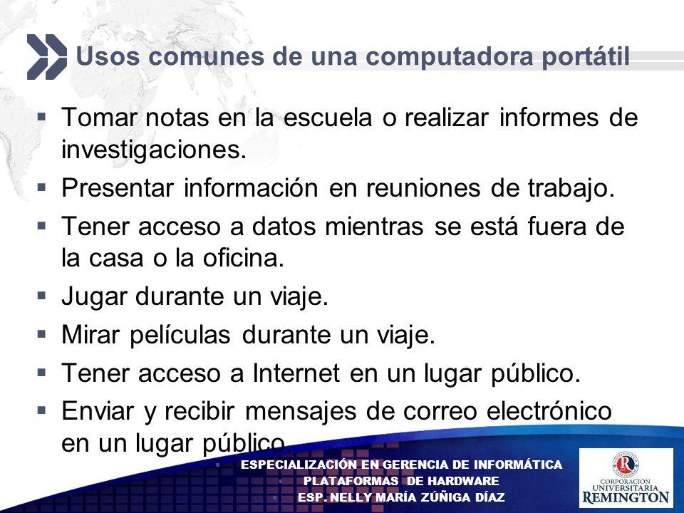 Usos comunes de una computadora portátil