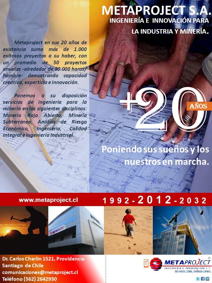 20 + METAPROJECT S.A. Poniendo sus sueños y los nuestros en marcha.