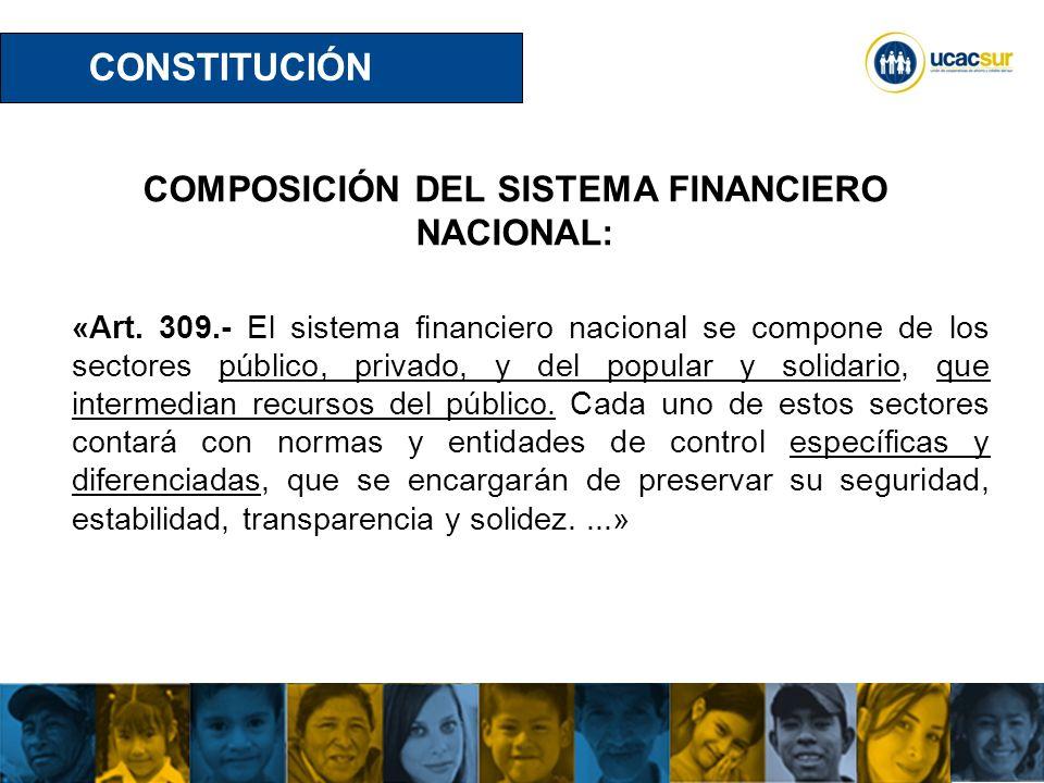 COMPOSICIÓN DEL SISTEMA FINANCIERO NACIONAL: