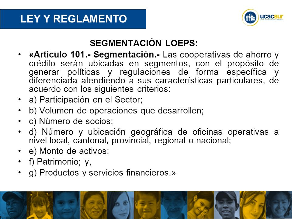 LEY Y REGLAMENTO SEGMENTACIÓN LOEPS: