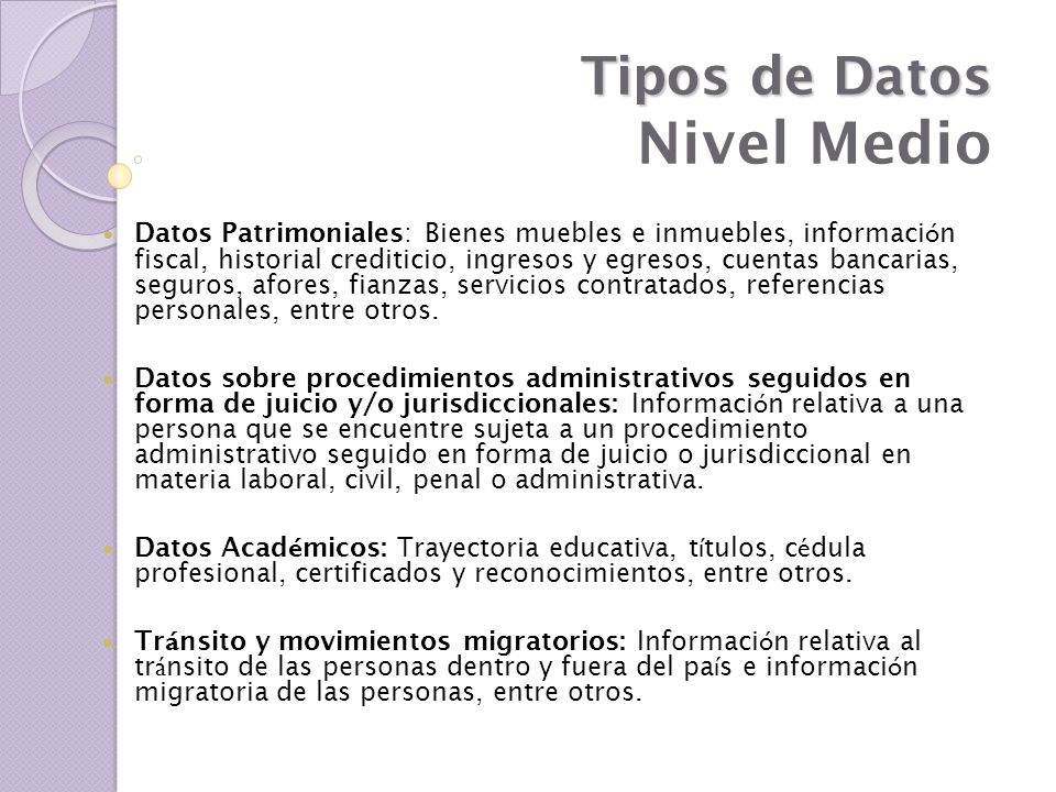 Tipos de Datos Nivel Medio