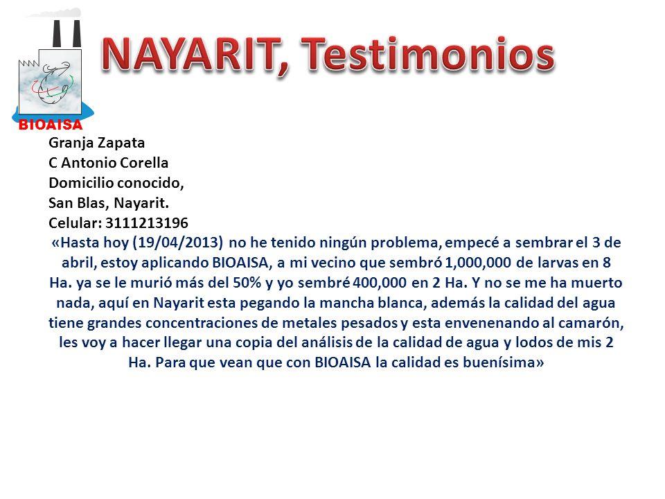 NAYARIT, Testimonios Granja Zapata C Antonio Corella