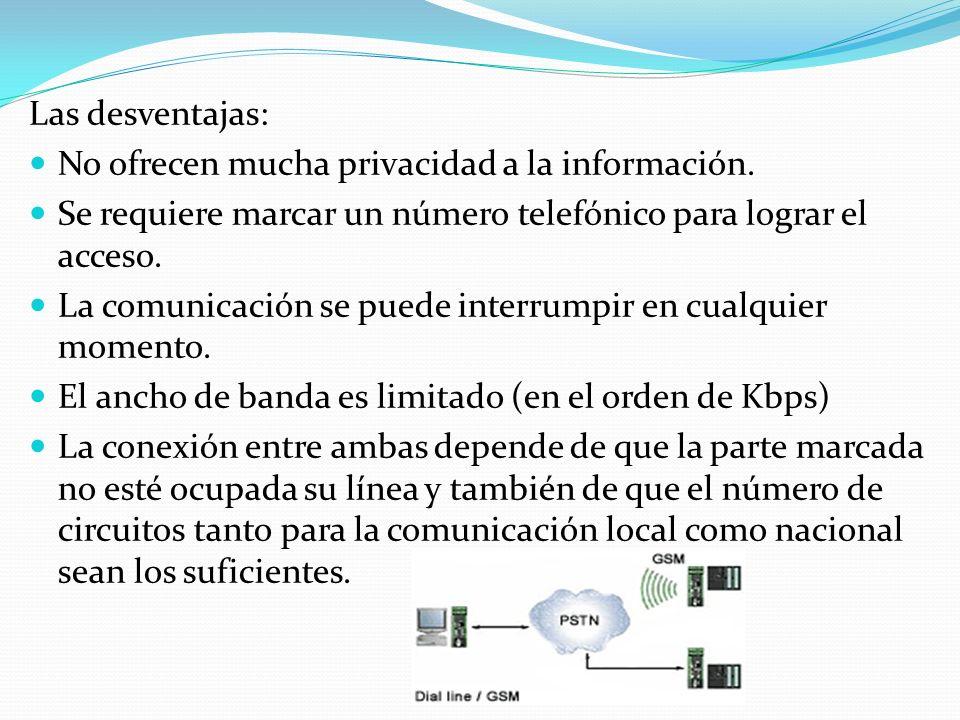 Las desventajas: No ofrecen mucha privacidad a la información. Se requiere marcar un número telefónico para lograr el acceso.