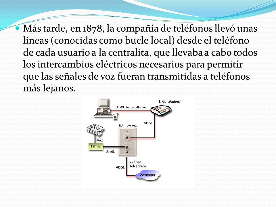 Más tarde, en 1878, la compañía de teléfonos llevó unas líneas (conocidas como bucle local) desde el teléfono de cada usuario a la centralita, que llevaba a cabo todos los intercambios eléctricos necesarios para permitir que las señales de voz fueran transmitidas a teléfonos más lejanos.