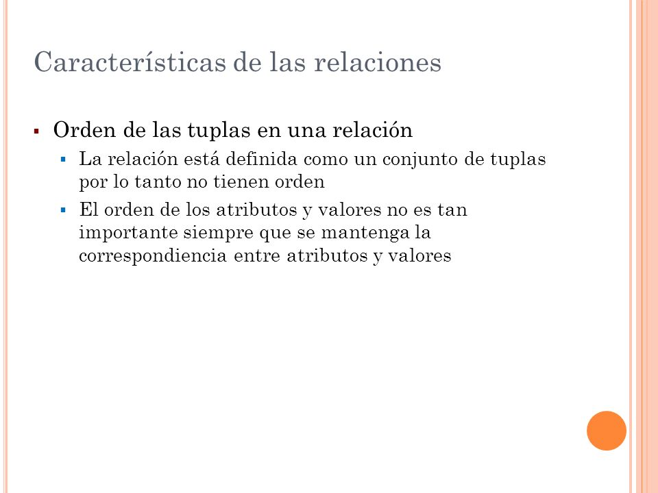 Características de las relaciones