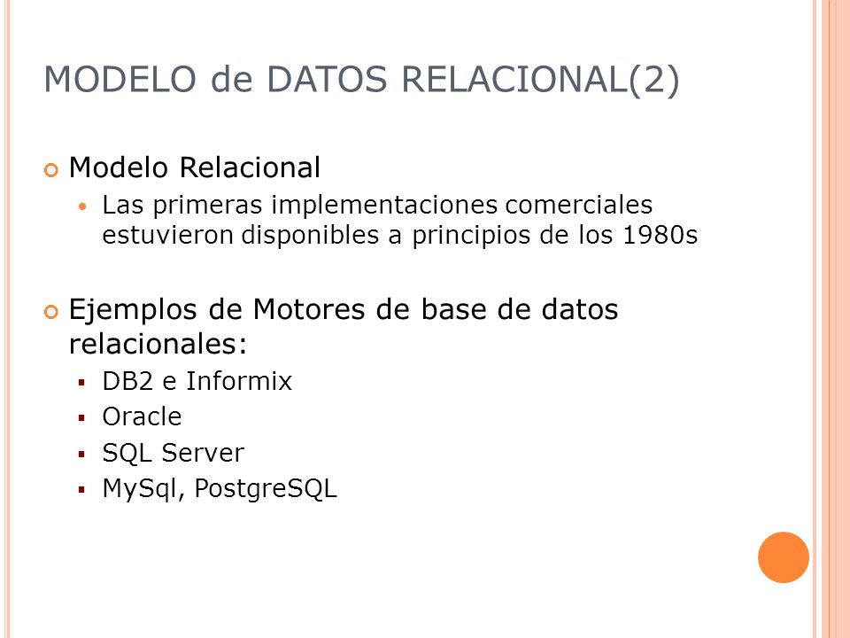 MODELO de DATOS RELACIONAL(2)