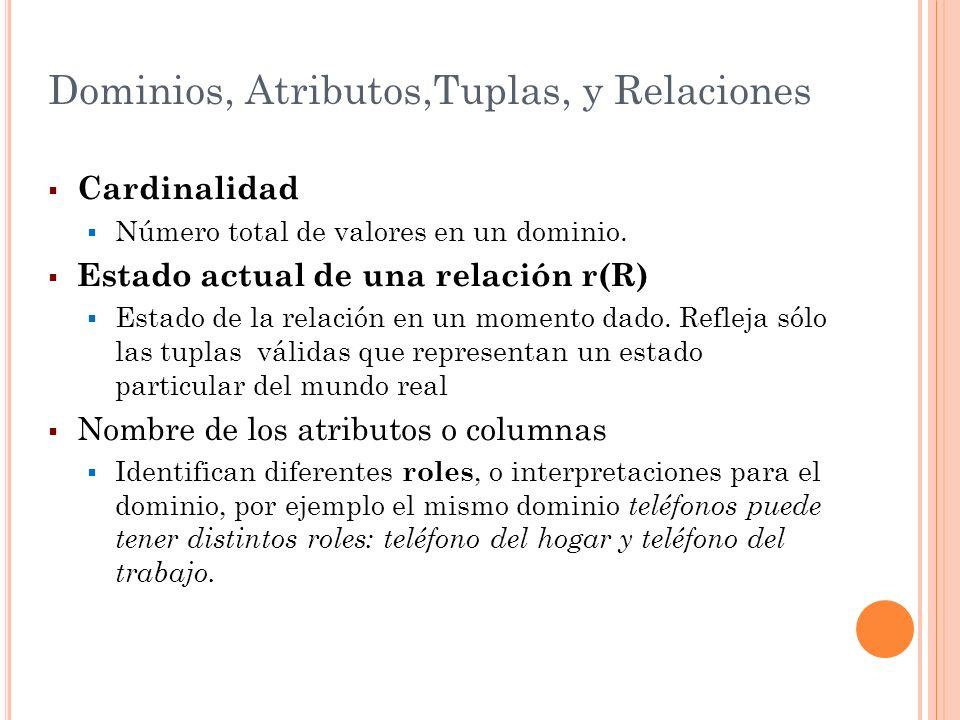 Dominios, Atributos,Tuplas, y Relaciones