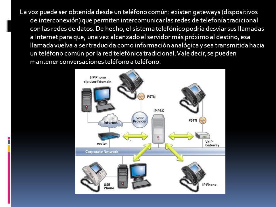 La voz puede ser obtenida desde un teléfono común: existen gateways (dispositivos de interconexión) que permiten intercomunicar las redes de telefonía tradicional con las redes de datos.