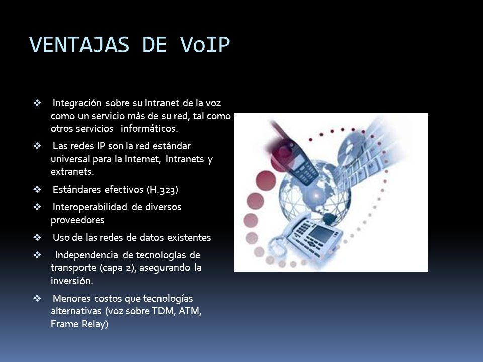 VENTAJAS DE VoIP Integración sobre su Intranet de la voz como un servicio más de su red, tal como otros servicios informáticos.