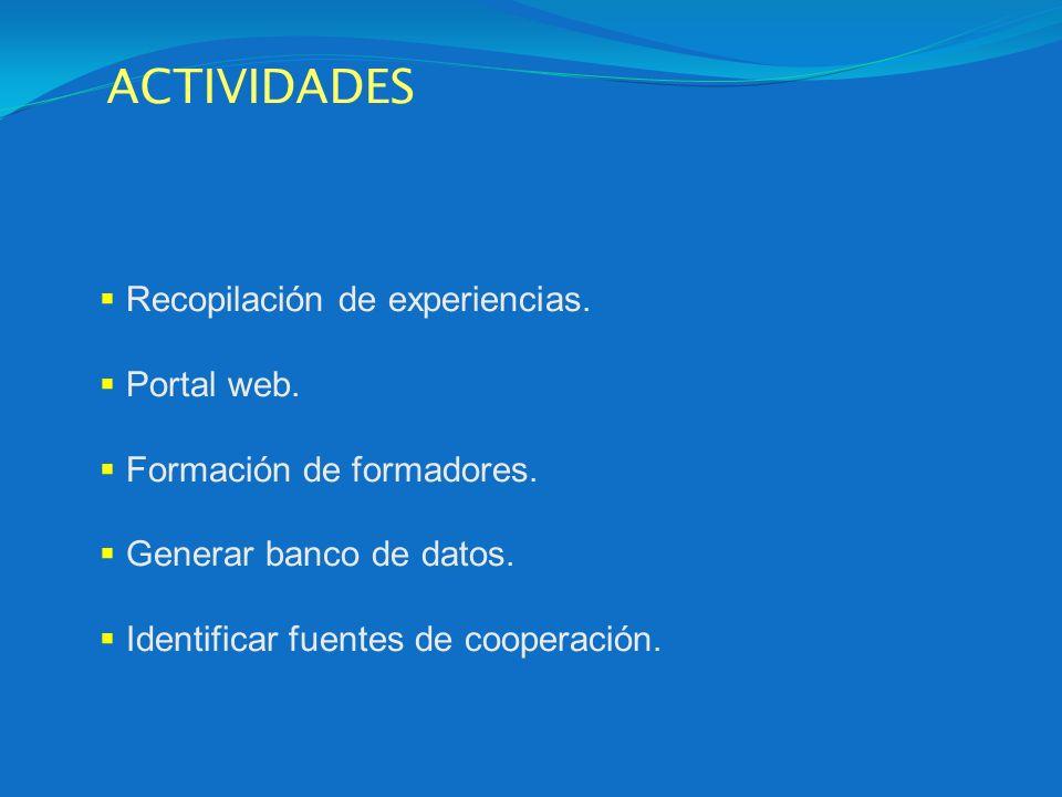 ACTIVIDADES Recopilación de experiencias. Portal web.