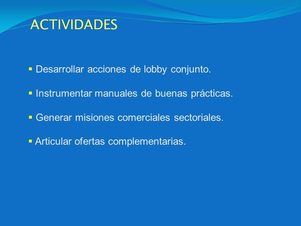 ACTIVIDADES Desarrollar acciones de lobby conjunto.
