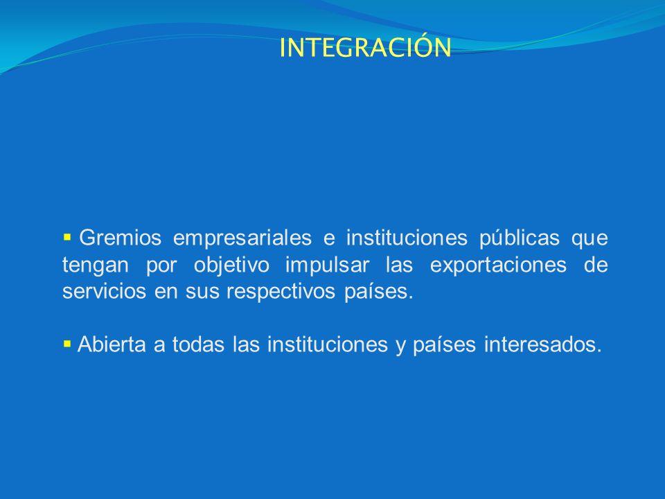 INTEGRACIÓN Gremios empresariales e instituciones públicas que tengan por objetivo impulsar las exportaciones de servicios en sus respectivos países.
