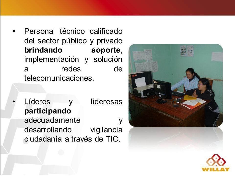 Personal técnico calificado del sector público y privado brindando soporte, implementación y solución a redes de telecomunicaciones.