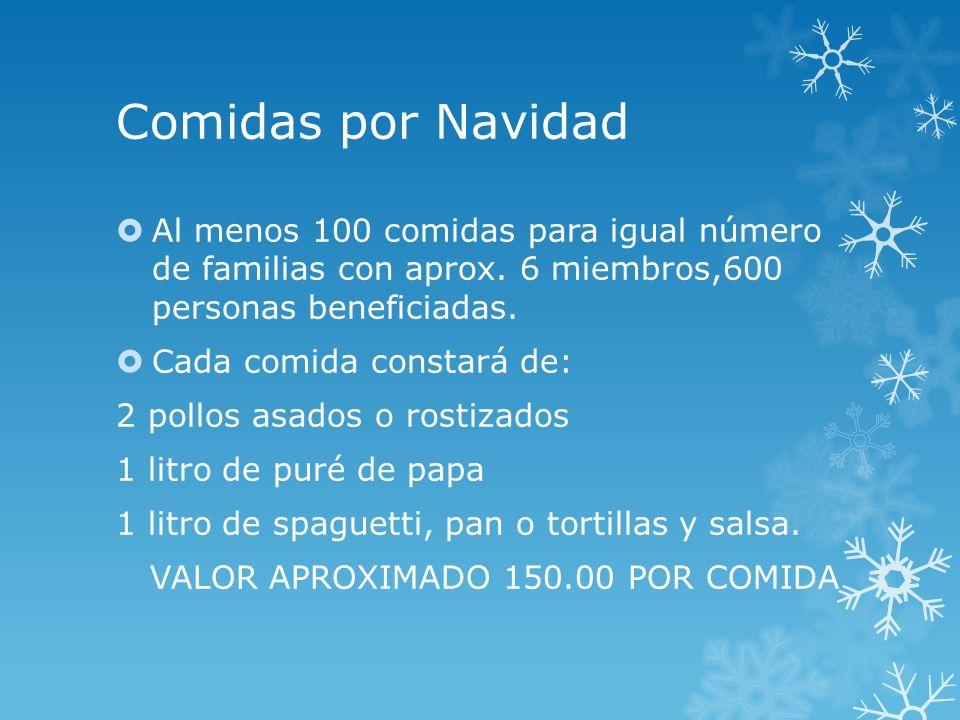 Comidas por Navidad Al menos 100 comidas para igual número de familias con aprox. 6 miembros,600 personas beneficiadas.