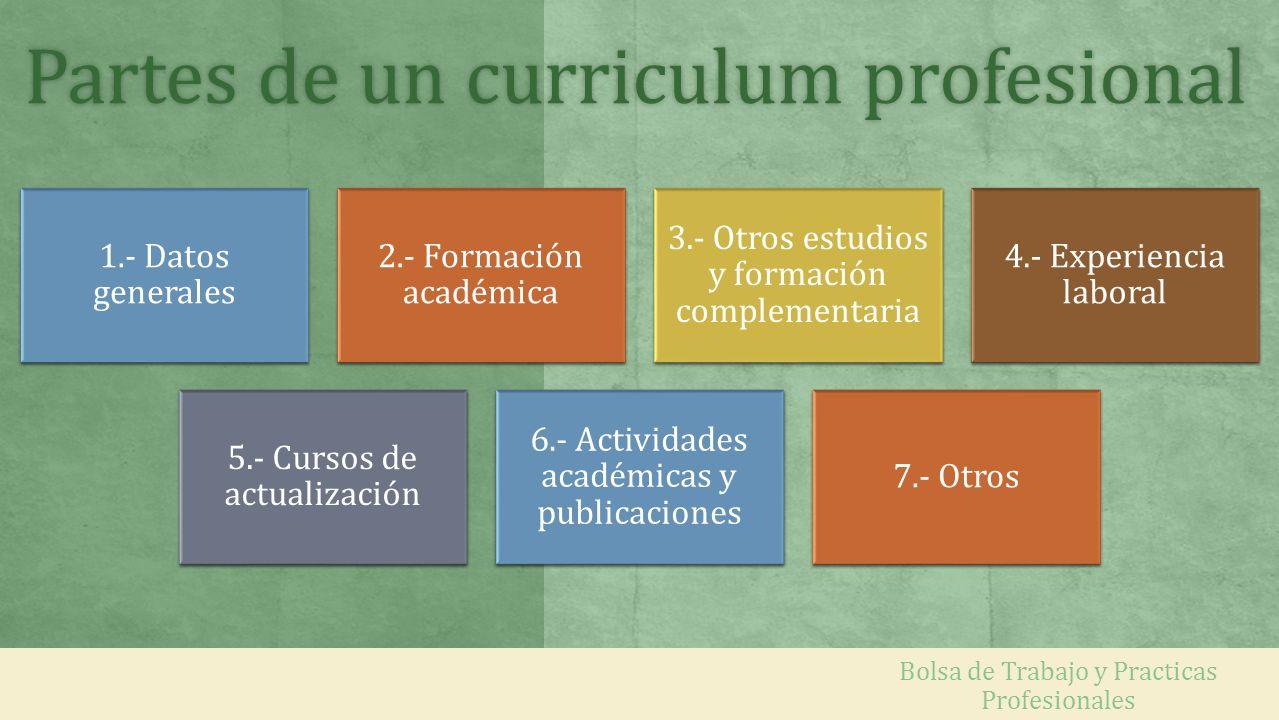 Partes de un curriculum profesional