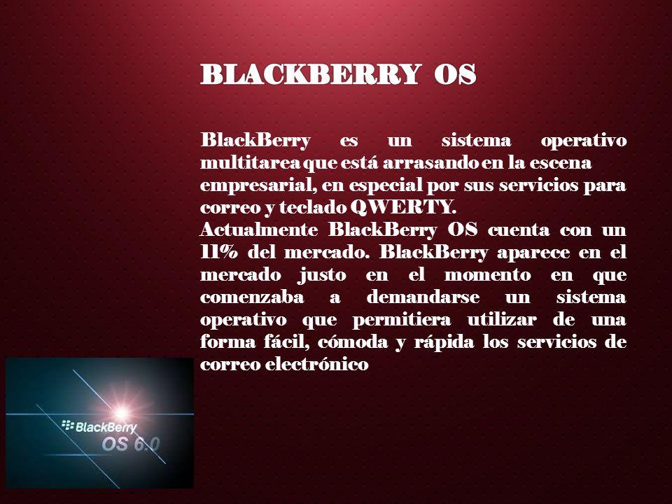 BLACKBERRY OS BlackBerry es un sistema operativo multitarea que está arrasando en la escena.