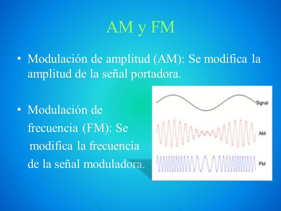 AM y FM Modulación de amplitud (AM): Se modifica la amplitud de la señal portadora. Modulación de.