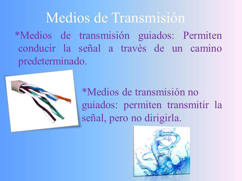 Medios de Transmisión *Medios de transmisión guiados: Permiten conducir la señal a través de un camino predeterminado.