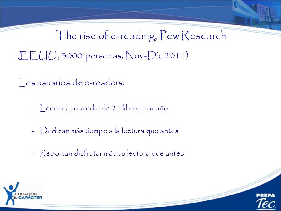 The rise of e-reading, Pew Research