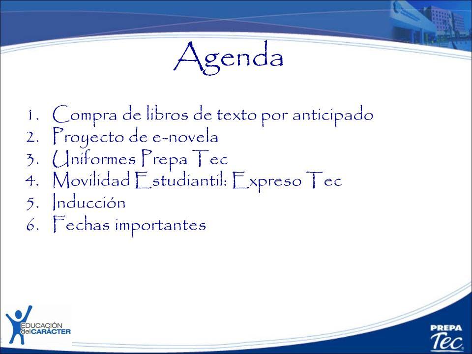 Agenda Compra de libros de texto por anticipado Proyecto de e-novela