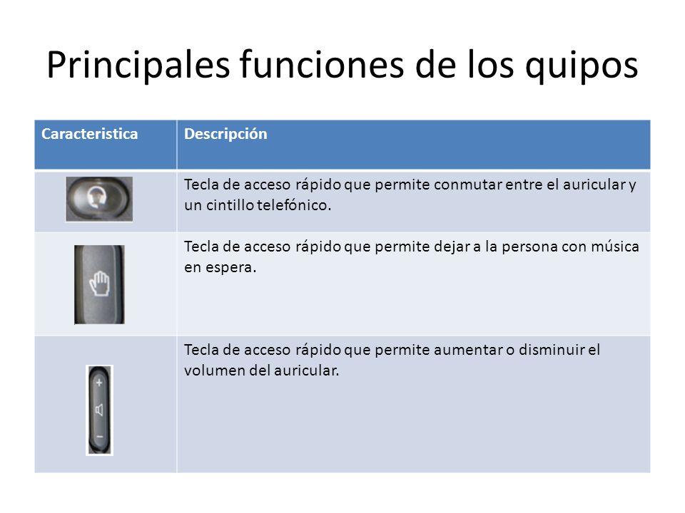 Principales funciones de los quipos