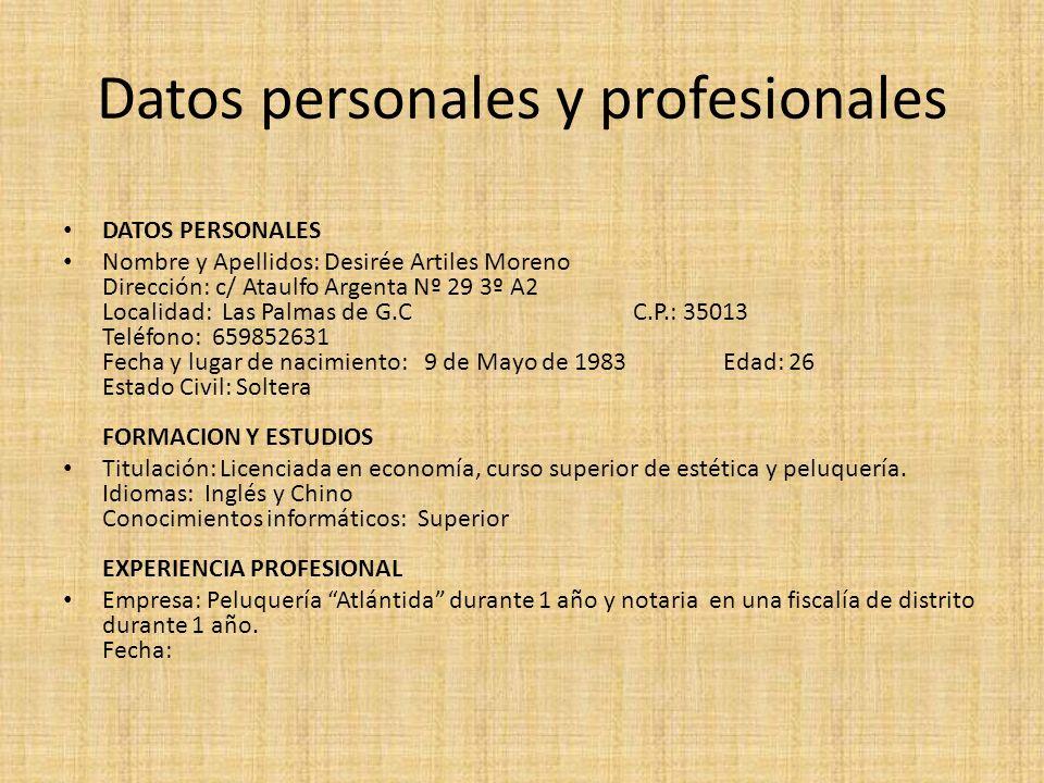 Datos personales y profesionales