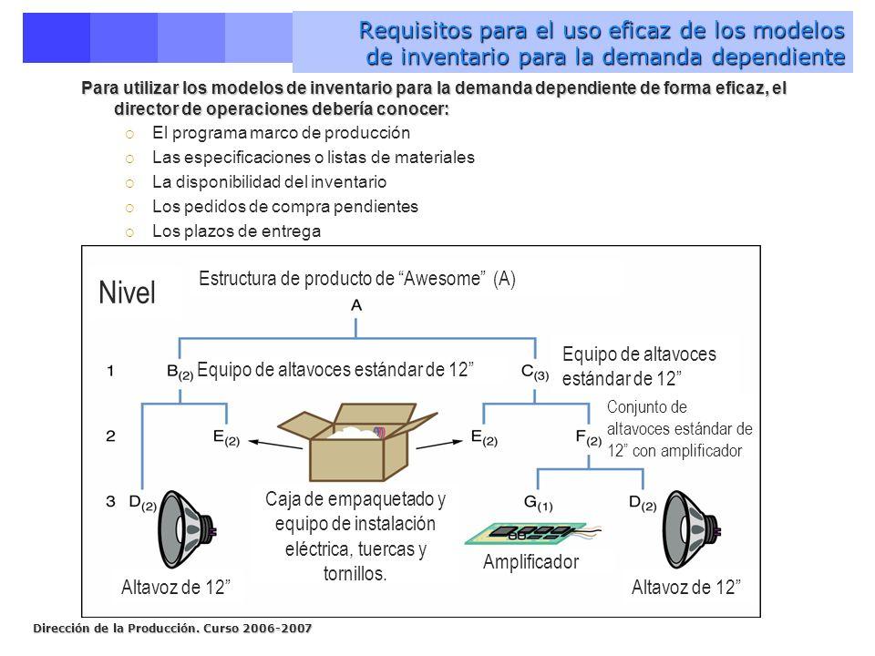 Requisitos para el uso eficaz de los modelos de inventario para la demanda dependiente