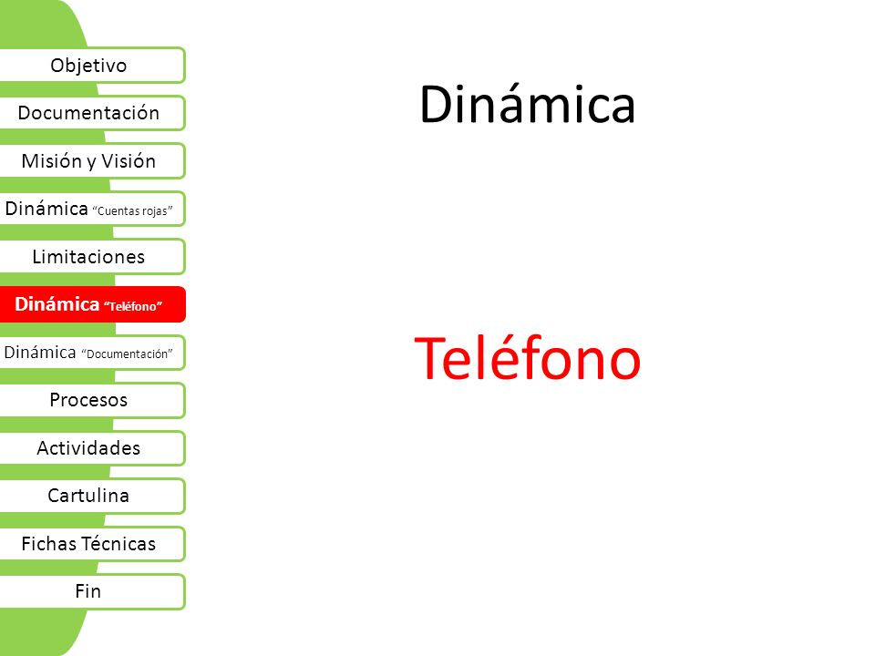 Teléfono Dinámica Objetivo Documentación Misión y Visión