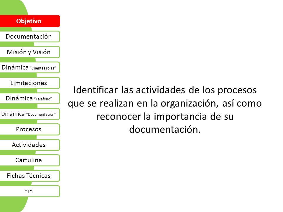 Objetivo Documentación. Misión y Visión. Dinámica Cuentas rojas