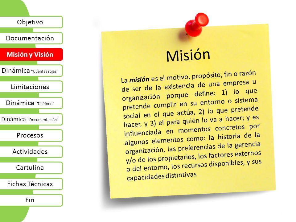 Misión Objetivo Documentación Misión y Visión Dinámica Cuentas rojas