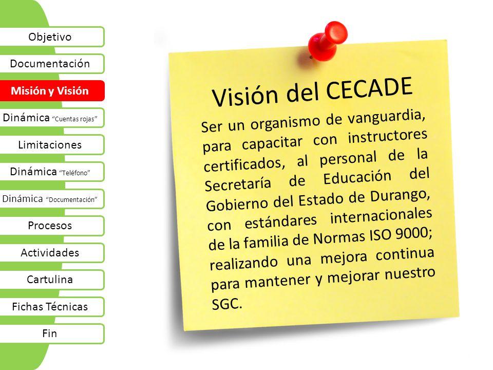 Objetivo Documentación. Visión del CECADE. Misión y Visión. Dinámica Cuentas rojas